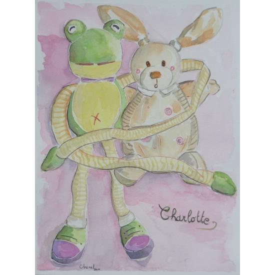 Aquarelle des doucous grenouille et lapin de Charlotte, réalisée par Chenel