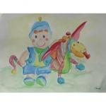 Aquarelle des doudous dragon et lutin, réalisée par Chenel